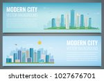 two banners with city landscape....   Shutterstock .eps vector #1027676701