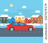 poster with a red car in the... | Shutterstock .eps vector #1027679179