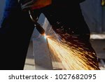 cutting metal sheet with... | Shutterstock . vector #1027682095