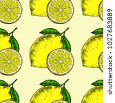 seamless lemons background.... | Shutterstock .eps vector #1027683889