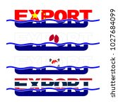 export flag text with blue... | Shutterstock . vector #1027684099