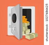 open safe full of money. vector ... | Shutterstock .eps vector #1027686625