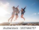 group of three beautiful nice...   Shutterstock . vector #1027686757