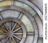 steel metal plate background  3d   Shutterstock . vector #1027688845