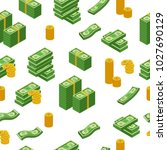 money pattern with us dollar... | Shutterstock .eps vector #1027690129