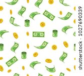 falling dollars and coins... | Shutterstock .eps vector #1027690339