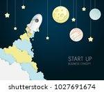 paper art of space shuttle... | Shutterstock .eps vector #1027691674