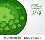 paper art green trees  clouds... | Shutterstock .eps vector #1027691677