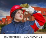 the woman in protective... | Shutterstock . vector #1027692421