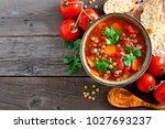 homemade tomato  lentil soup ... | Shutterstock . vector #1027693237
