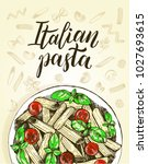 penne pasta with cherry...   Shutterstock .eps vector #1027693615