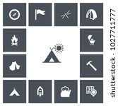 set of 13 editable travel icons.... | Shutterstock . vector #1027711777