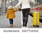 cute little boy and his... | Shutterstock . vector #1027714141