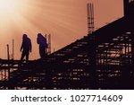 silhouette city worker ... | Shutterstock . vector #1027714609