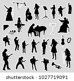 vector musicians silhouettes | Shutterstock .eps vector #1027719091