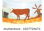 cute cow with milk river... | Shutterstock . vector #1027724671