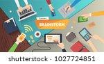 brainstorming creative team... | Shutterstock . vector #1027724851