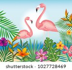 tropical and exotic garden with ... | Shutterstock .eps vector #1027728469