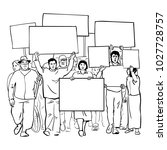 protesting people with blank... | Shutterstock .eps vector #1027728757