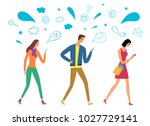 people walking and  looking on... | Shutterstock .eps vector #1027729141
