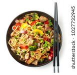 plate of noodles with meat and... | Shutterstock . vector #1027732945