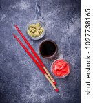 wasabi  ginger and soy sauce.... | Shutterstock . vector #1027738165