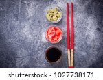 wasabi  ginger and soy sauce.... | Shutterstock . vector #1027738171