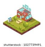 mobile home isometric... | Shutterstock . vector #1027739491