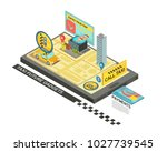 call taxi by gadget isometric... | Shutterstock . vector #1027739545
