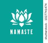 Namaste sign. Hello in hindi. Lotus flower isolated on turquoise background. Motivational positive quote. Yoga center emblem. Vector vintage illustration.