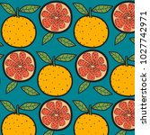 oranges fruit pattern with blue ... | Shutterstock .eps vector #1027742971