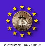 bitcoin gold coin with the... | Shutterstock . vector #1027748407