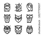 Stock vector owl icon set 1027755037