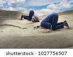 businessman hiding his head in... | Shutterstock . vector #1027756507