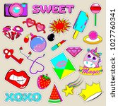 set of fashionable stickers and ... | Shutterstock .eps vector #1027760341