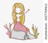 little mermaid cartoon | Shutterstock .eps vector #1027769611