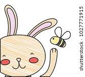 grated cartoon rabbit with bee... | Shutterstock .eps vector #1027771915