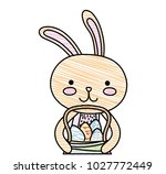 grated happy rabbit animal with ... | Shutterstock .eps vector #1027772449
