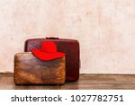 vintage brown traveling luggage ... | Shutterstock . vector #1027782751