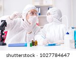two chemists working in the lab | Shutterstock . vector #1027784647