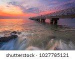 calm summer evening  sunset at... | Shutterstock . vector #1027785121