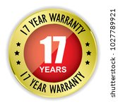 red 17 year warranty badge with ... | Shutterstock .eps vector #1027789921