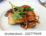 Fish food - stock photo