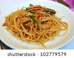 Stir-fried noodles, Chinese cuisine - stock photo