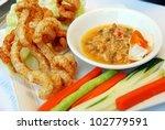 Shrimp paste dip with Fish & Fresh Vegetables , Thai food - stock photo