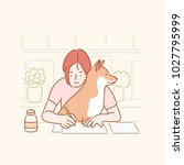 Stock vector cute behavior of pet dogs that prevents you from working at your desk hand drawn style vector 1027795999