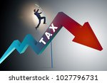 businessman jumping over tax in ... | Shutterstock . vector #1027796731