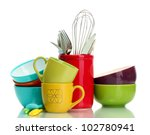 Stock photo bright empty bowls cups and kitchen utensils isolated on white 102780941