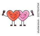 couple hearts cartoon with wine ... | Shutterstock .eps vector #1027814764