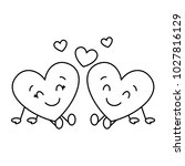 cute hearts couple sitting... | Shutterstock .eps vector #1027816129